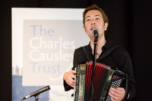 Jim Causley performing at the launch of Charles Causley House, 7th July 2014, Launceston Town Hall. Pic: Steve Tanner
