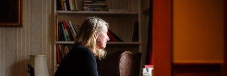 Poet in Residence Dr Alyson Hallett at Charles Causley's Desk, 2014