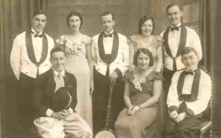 As a young man, Causley played keyboards in a local minstrel band. Back row (L to R) Bernard Chapman, Brenda Poore, ? Mills, Vera Aynsley, Ossie Phelps. Front Row: Billy Blythe, Edna May Dymond, Charles Causley
