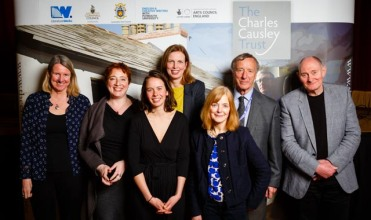 Left to right: Dr Alyson Hallett, Tania Hershman, Samantha Weaver, Kathryn Simmonds, Jo Haslam, Chair of The Charles Causley Trust David Fryer, Victor Tapner