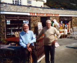 Charles with his friend Stan Simmonds at Crackington Haven. Stan illustrated some of Charles's books including Here We Go Round The Round House