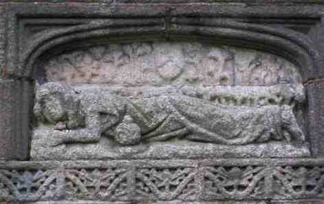 1: Mary, Mary Magdalene/Lying on the wall/I throw a pebble on your back/Will it lie or fall? From: Mary, Mary Magdalene. This relief is to be found on the east wall of St Mary Magdalene church. It is said that a stone lodged on her back will bring good luck