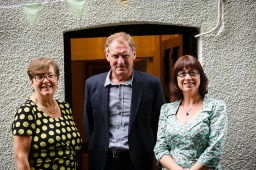 Dr Joan Chandler, Chair, with Tracey Guiry, CEO, of Literature Works, with Charles Causley Trust Patron, Sir Andrew Motion. (Launch of Charles Causley's House, July 2014)