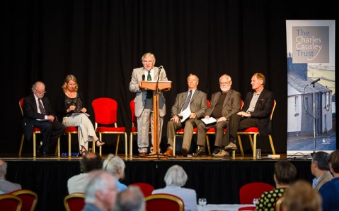 L to R: John Hurst, The Charles Causley Trust, Dr Alyson Hallett, Charles Causley Poet in Residence 2014, Kent Stanton, Chair of Charles Causley Trust, David Fryer, The Chalres Causley Trust, Cllr Bert Biscoe and Sir Andrew Motion (Opening of Charles Causley's House, July 2014)