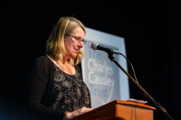 Charles Causley Poet in Residence, Dr Alyson Hallett, reads at the opening of Charles Causley's House, July 2014