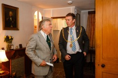 Chair of The Charles Causley Trust, Kent Stanton, with the Mayor of Launceston, David Gordon, at the opening of Charles Causley's House July 2014