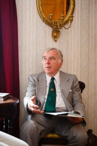 Chair of the Charles Causley Trust, Kent Stanton, at the opening of Charles Causley's House, July 2014