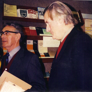 Charles with fellow poet and Poet Laureate Ted Hughes at the exhibition celebrating Charles's 70th birthday